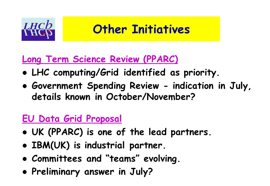 Other Initiatives Long Term Science Review (PPARC) LHC computing/Grid identified as priority.