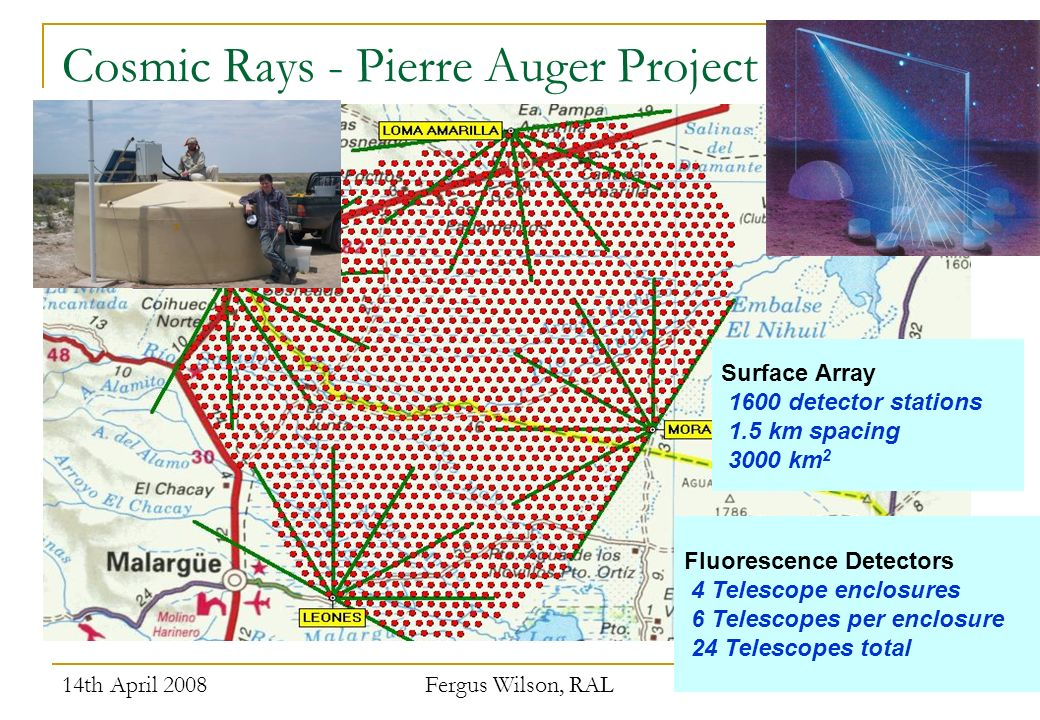 14th April 2008 Fergus Wilson, RAL 10 Surface Array 1600 detector stations 1.5 km spacing 3000 km 2 Fluorescence Detectors 4 Telescope enclosures 6 Telescopes per enclosure 24 Telescopes total Cosmic Rays - Pierre Auger Project