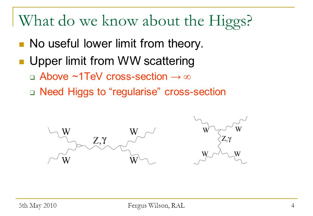 What do we know about the Higgs? 5th May 2010 Fergus Wilson, RAL 4 No useful lower limit from theory. Upper limit from WW scattering Above ~1TeV cross