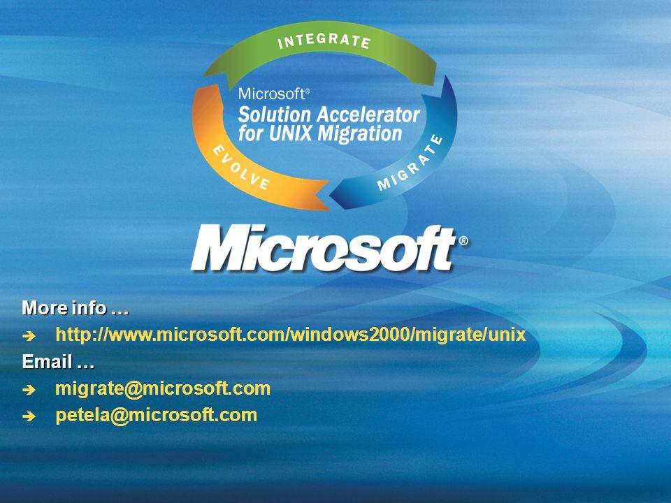 More info … http://www.microsoft.com/windows2000/migrate/unix Email … migrate@microsoft.com petela@microsoft.com