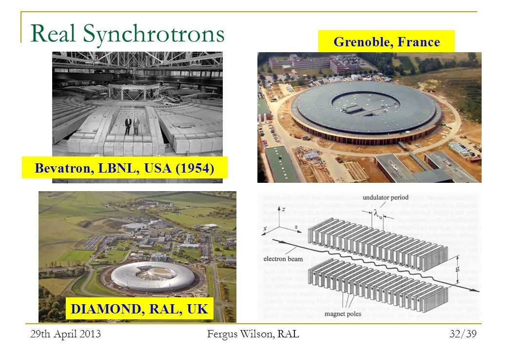 29th April 2013 Fergus Wilson, RAL 32/39 Real Synchrotrons Grenoble, France Bevatron, LBNL, USA (1954) DIAMOND, RAL, UK