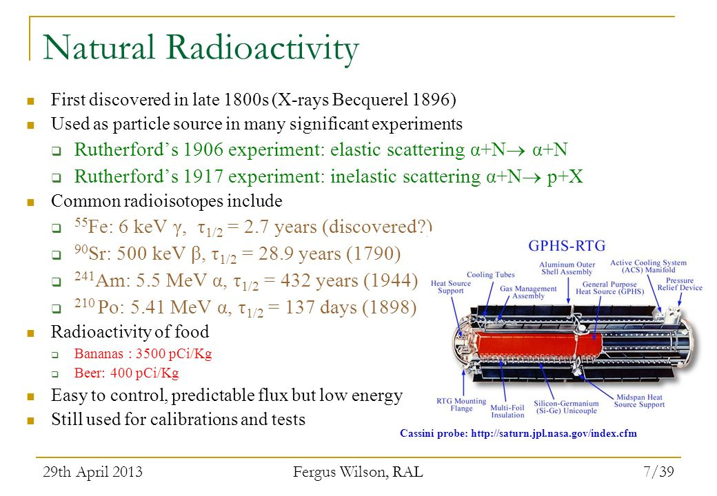 29th April 2013 Fergus Wilson, RAL 7/39 Natural Radioactivity First discovered in late 1800s (X-rays Becquerel 1896) Used as particle source in many s