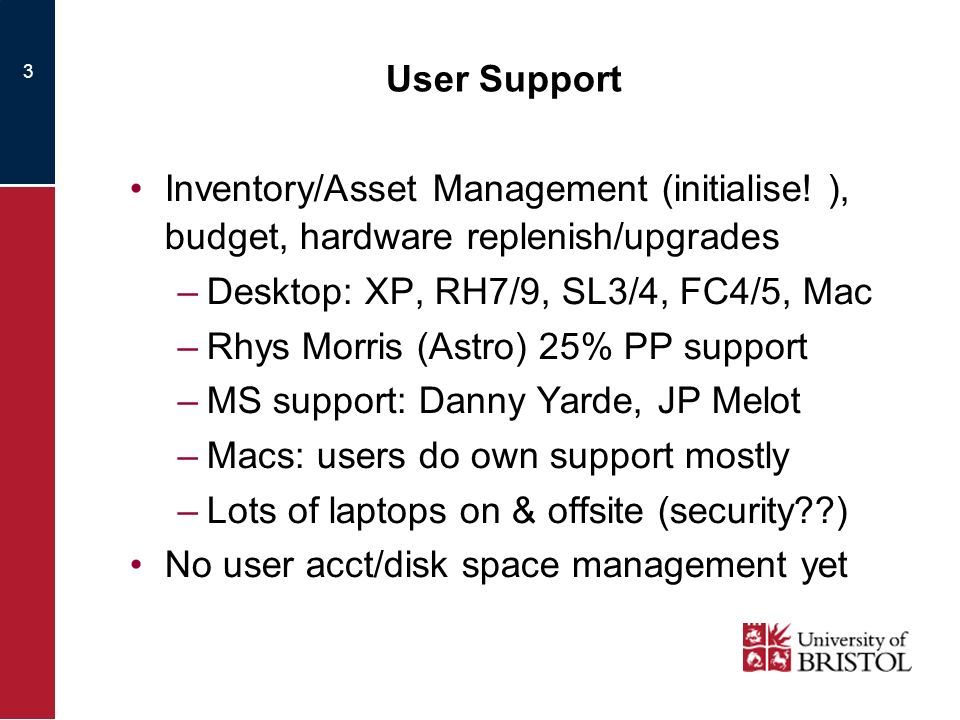 3 User Support Inventory/Asset Management (initialise.
