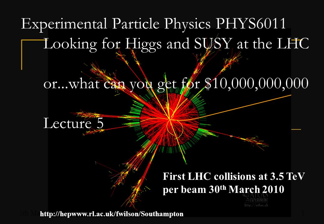 5th May 2011 Fergus Wilson, RAL 2 Search for the Higgs Boson Missing piece of Standard Model Standard Model Higgs theory well understood: Mass is only free parameter Clear predictions to test Most New Physics models have something equivalent to a Higgs boson (MSSM Higgs, little Higgs, etc…).