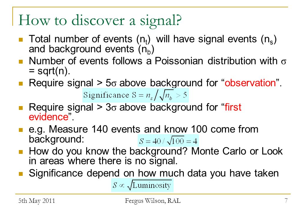 How to discover a signal.