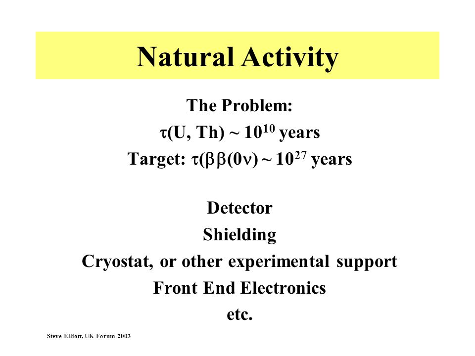 Steve Elliott, UK Forum 2003 Natural Activity The Problem: (U, Th) ~ 10 10 years Target: ( (0 ) ~ 10 27 years Detector Shielding Cryostat, or other ex