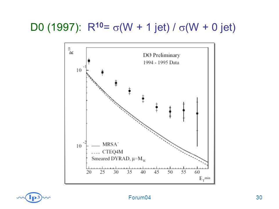 Forum0430 D0 (1997): R 10 = (W + 1 jet) / (W + 0 jet)