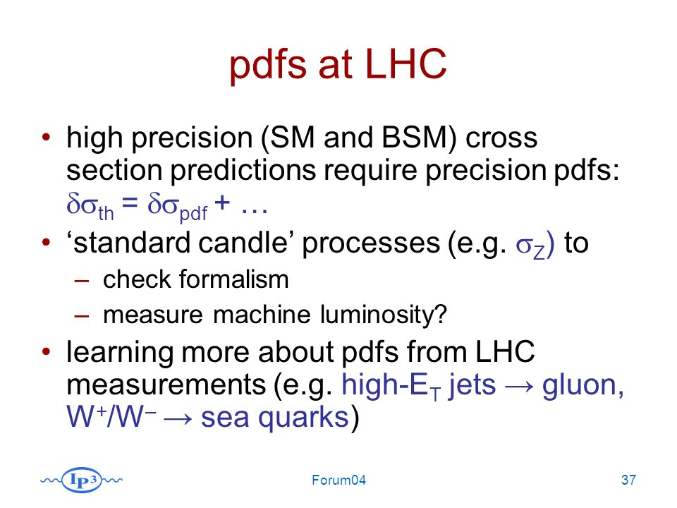 Forum0437 pdfs at LHC high precision (SM and BSM) cross section predictions require precision pdfs: th = pdf + … standard candle processes (e.g. Z ) t