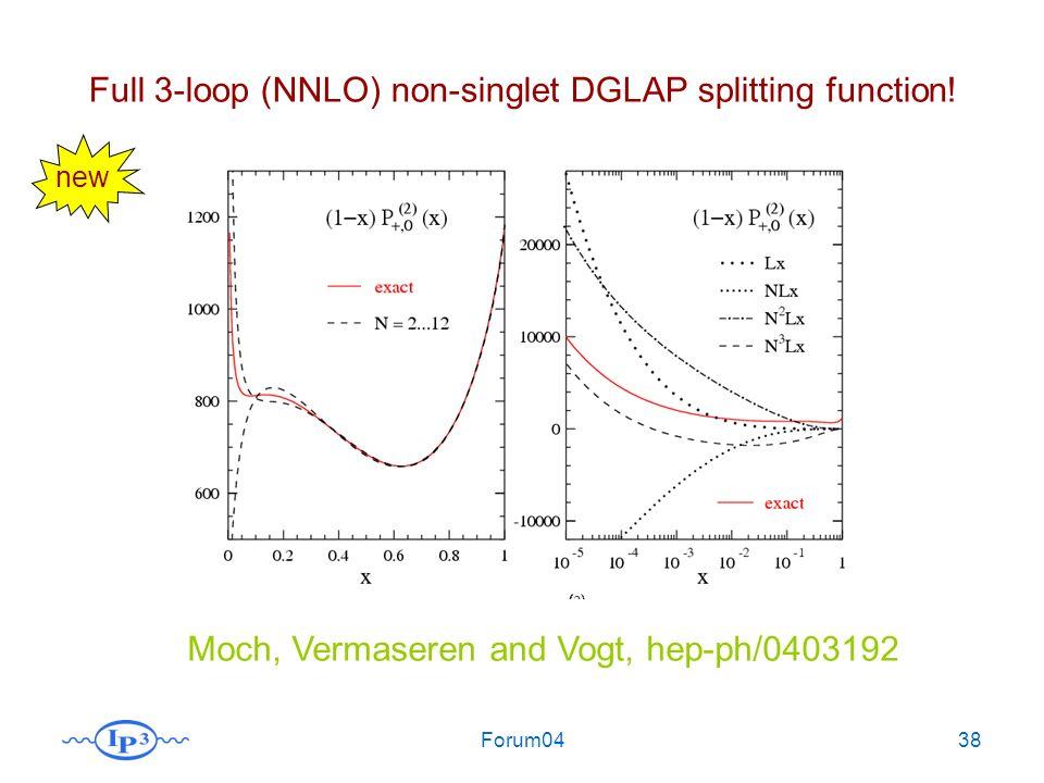 Forum0438 Full 3-loop (NNLO) non-singlet DGLAP splitting function! Moch, Vermaseren and Vogt, hep-ph/0403192 new