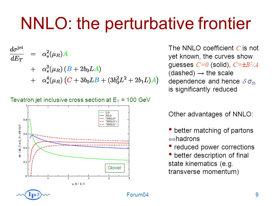 Forum049 NNLO: the perturbative frontier The NNLO coefficient C is not yet known, the curves show guesses C=0 (solid), C=±B 2 /A (dashed) the scale dependence and hence σ th is significantly reduced Other advantages of NNLO: better matching of partons hadrons reduced power corrections better description of final state kinematics (e.g.