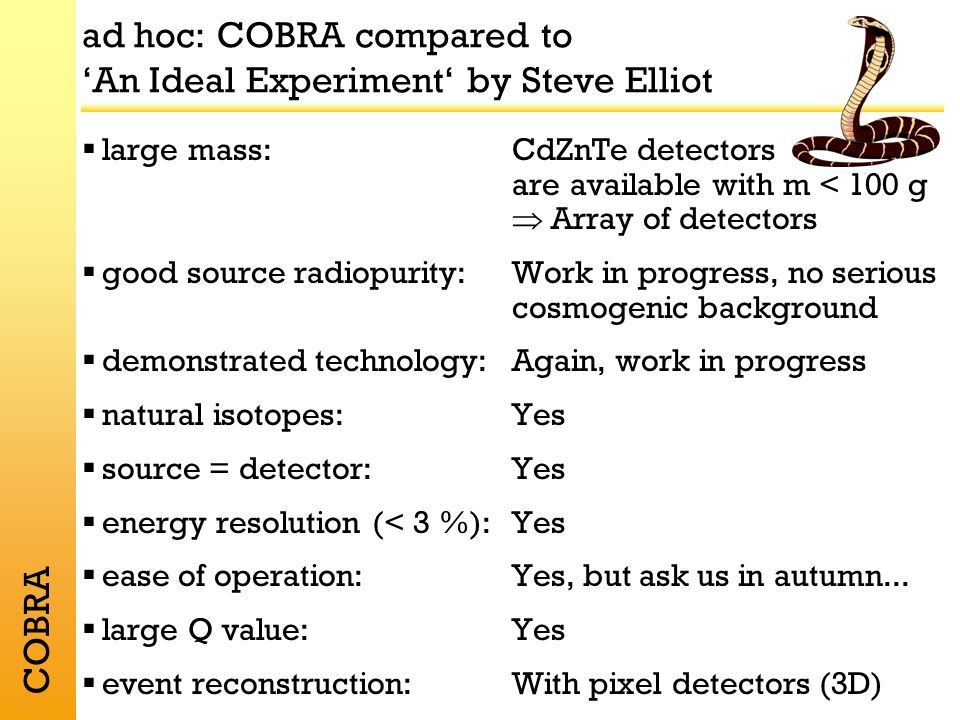 COBRA ad hoc: COBRA compared to An Ideal Experiment by Steve Elliot large mass:CdZnTe detectors are available with m < 100 g Array of detectors good source radiopurity:Work in progress, no serious cosmogenic background demonstrated technology:Again, work in progress natural isotopes:Yes source = detector: Yes energy resolution (< 3 %):Yes ease of operation:Yes, but ask us in autumn...