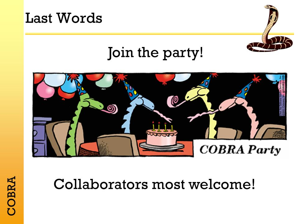 COBRA Last Words Join the party! Collaborators most welcome!