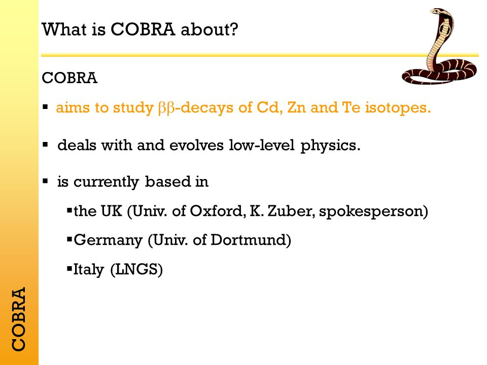 COBRA Time schedule Next week: relocation of the setup into the Gran Sasso laboratory Autumn 2003:First results due, decision about funding of 4 x 4 prototype due Spring 2004:scalable 4 x 4 prototype and scalable readout electronics operational Winter 2004:proposal for a competitive 0 -decay based on CdZnTe