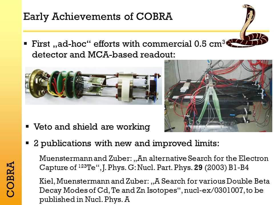 COBRA Early Achievements of COBRA First ad-hoc efforts with commercial 0.5 cm 3 detector and MCA-based readout: Veto and shield are working 2 publications with new and improved limits: Muenstermann and Zuber: An alternative Search for the Electron Capture of 123 Te, J.