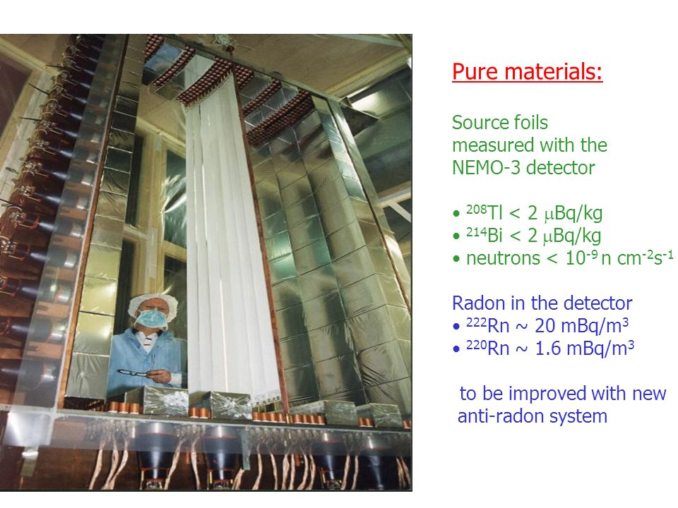 Pure materials: Source foils measured with the NEMO-3 detector 208 Tl < 2 Bq/kg 214 Bi < 2 Bq/kg neutrons < n cm -2 s -1 Radon in the detector 222 Rn ~ 20 mBq/m Rn ~ 1.6 mBq/m 3 to be improved with new anti-radon system
