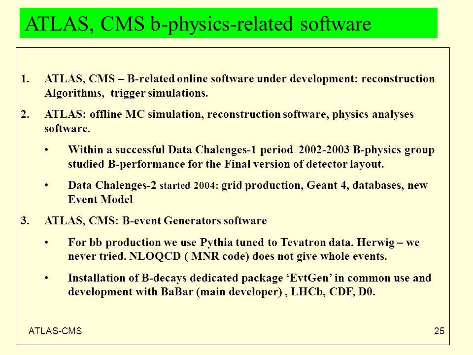 ATLAS-CMS25 ATLAS, CMS b-physics-related software 1.ATLAS, CMS – B-related online software under development: reconstruction Algorithms, trigger simul