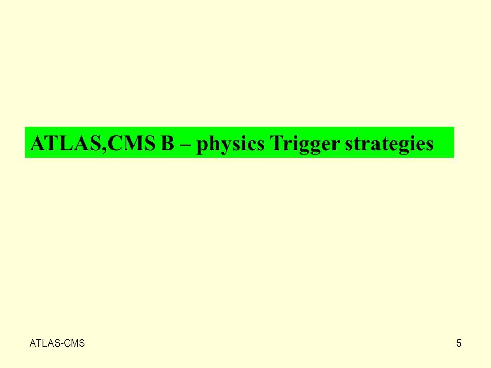 ATLAS-CMS5 ATLAS,CMS B – physics Trigger strategies