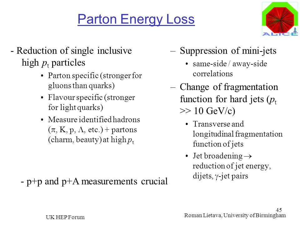 Roman Lietava, University of Birmingham UK HEP Forum 45 Parton Energy Loss - Reduction of single inclusive high p t particles Parton specific (stronge
