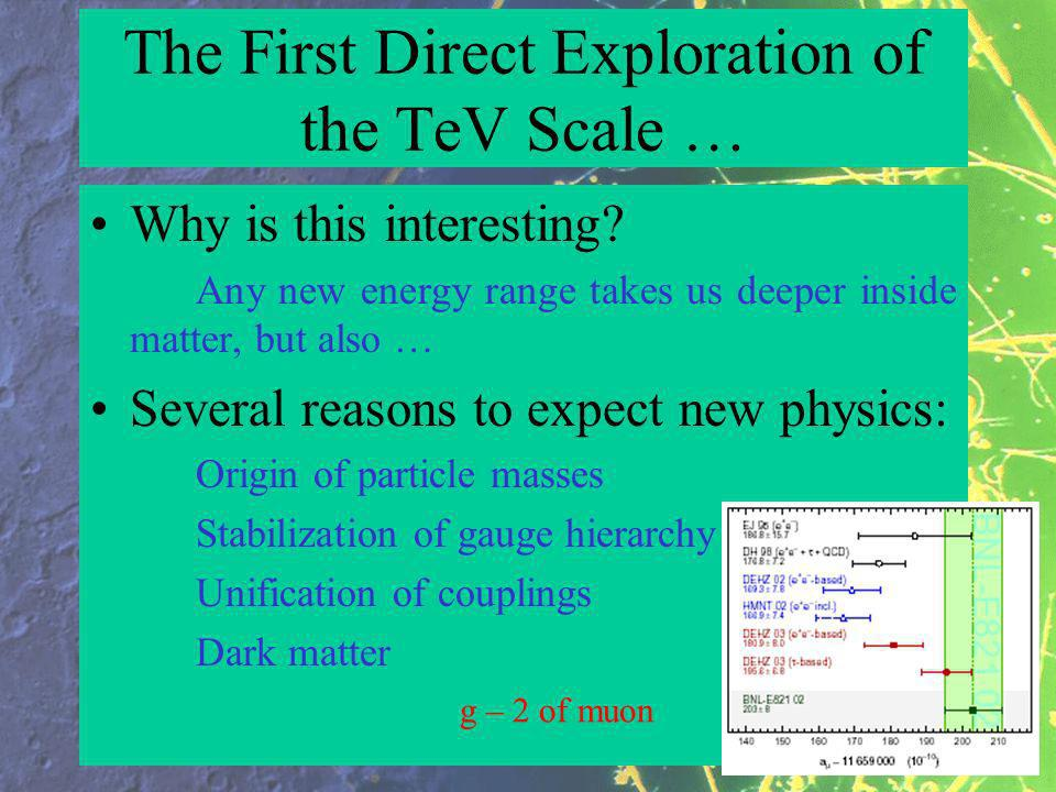 The First Direct Exploration of the TeV Scale … Why is this interesting.
