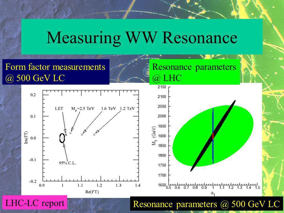 Measuring WW Resonance Form factor measurements @ 500 GeV LC Resonance parameters @ LHC Resonance parameters @ 500 GeV LC LHC-LC report