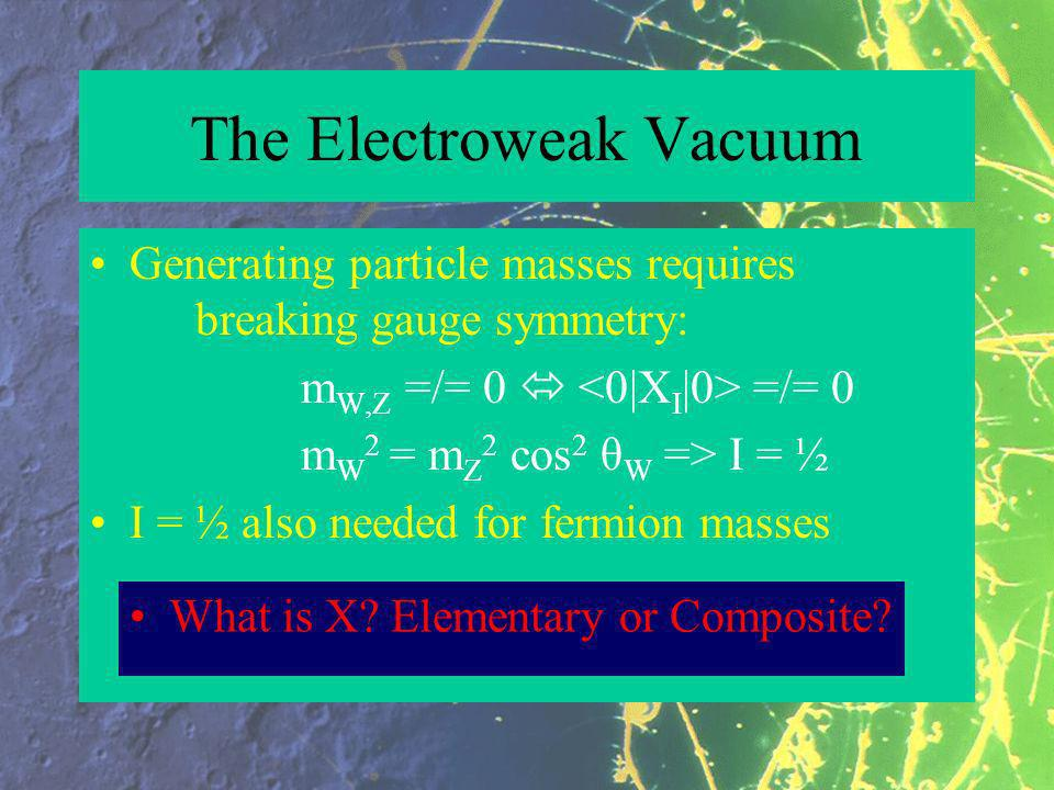 The Electroweak Vacuum Generating particle masses requires breaking gauge symmetry: m W,Z =/= 0 =/= 0 m W 2 = m Z 2 cos 2 θ W => I = ½ I = ½ also needed for fermion masses What is X.