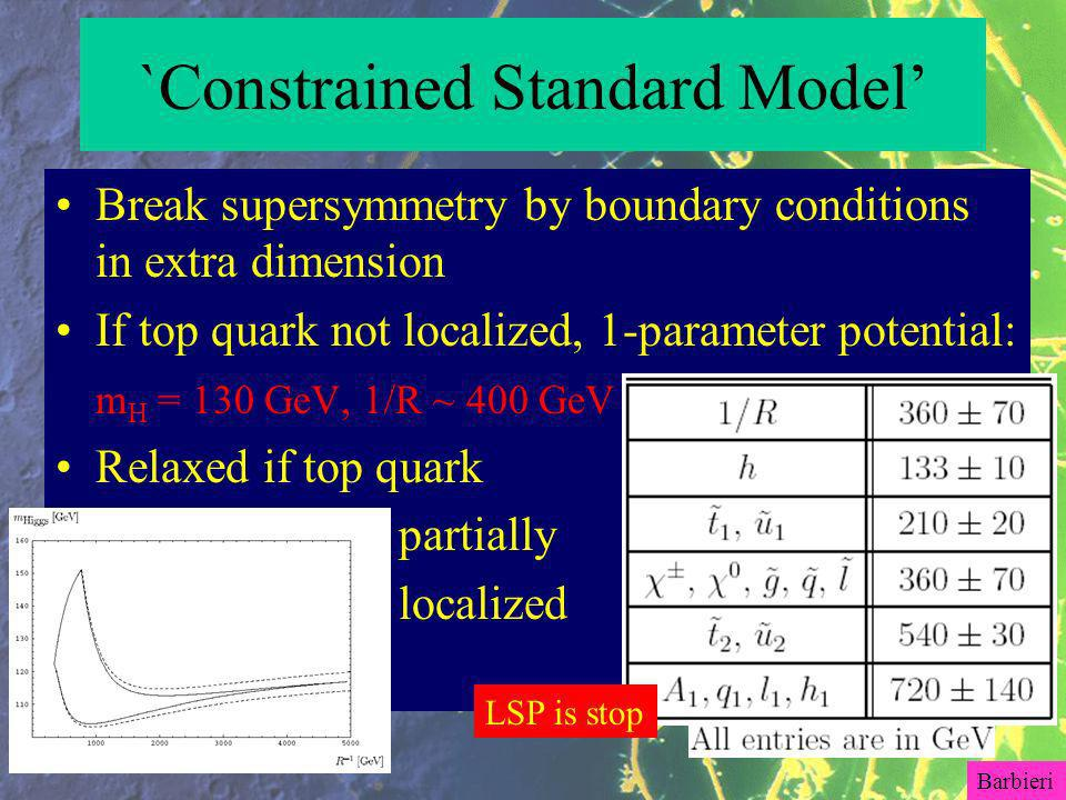 `Constrained Standard Model Break supersymmetry by boundary conditions in extra dimension If top quark not localized, 1-parameter potential: m H = 130 GeV, 1/R ~ 400 GeV Relaxed if top quark partially localized LSP is stop Barbieri