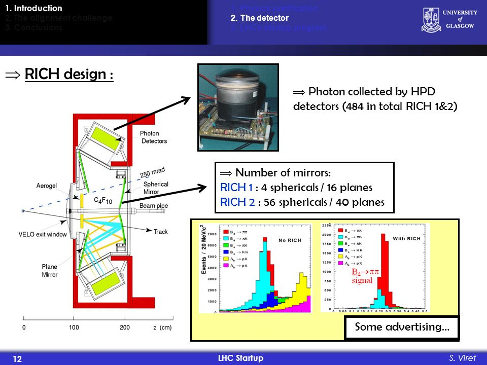 LHC Startup 12 S. Viret RICH design : 1. Physics justification 2. The detector 3. LHCb startup program Photon collected by HPD detectors (484 in total