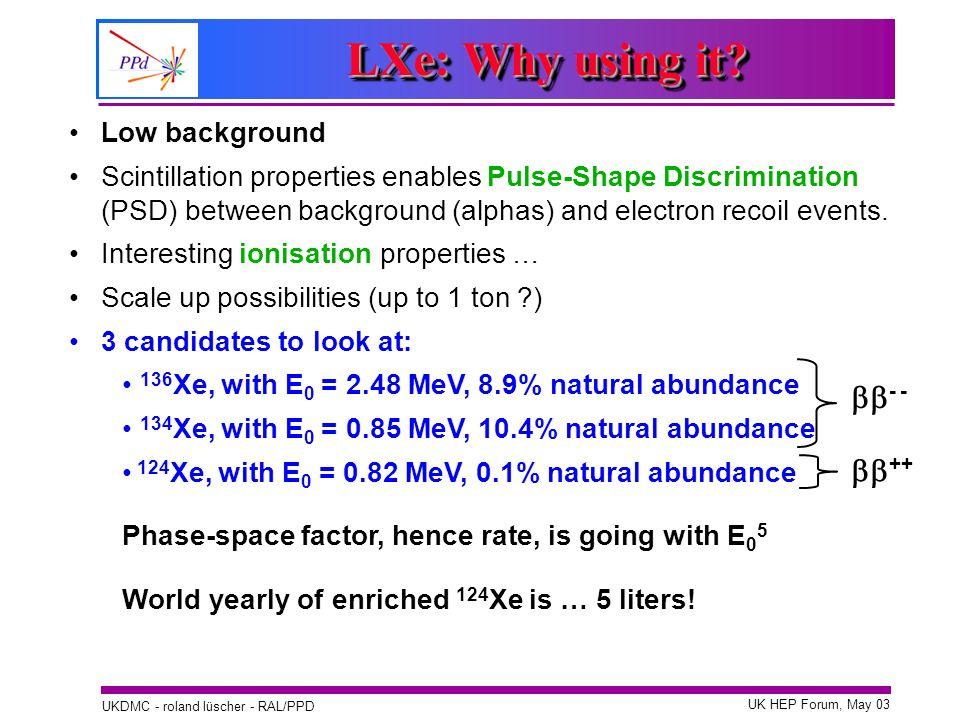 UK HEP Forum, May 03 UKDMC - roland lüscher - RAL/PPD Low background Scintillation properties enables Pulse-Shape Discrimination (PSD) between backgro