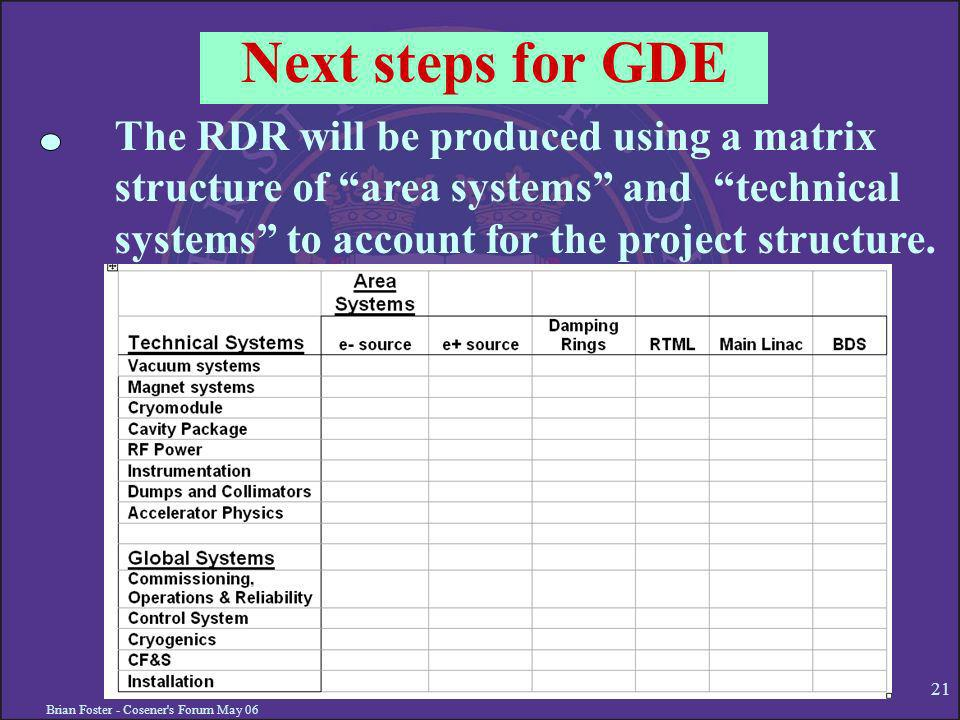 Brian Foster - Cosener s Forum May Next steps for GDE The RDR will be produced using a matrix structure of area systems and technical systems to account for the project structure.