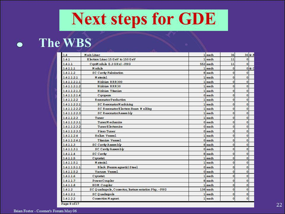 Brian Foster - Cosener s Forum May 06 22 Next steps for GDE The WBS