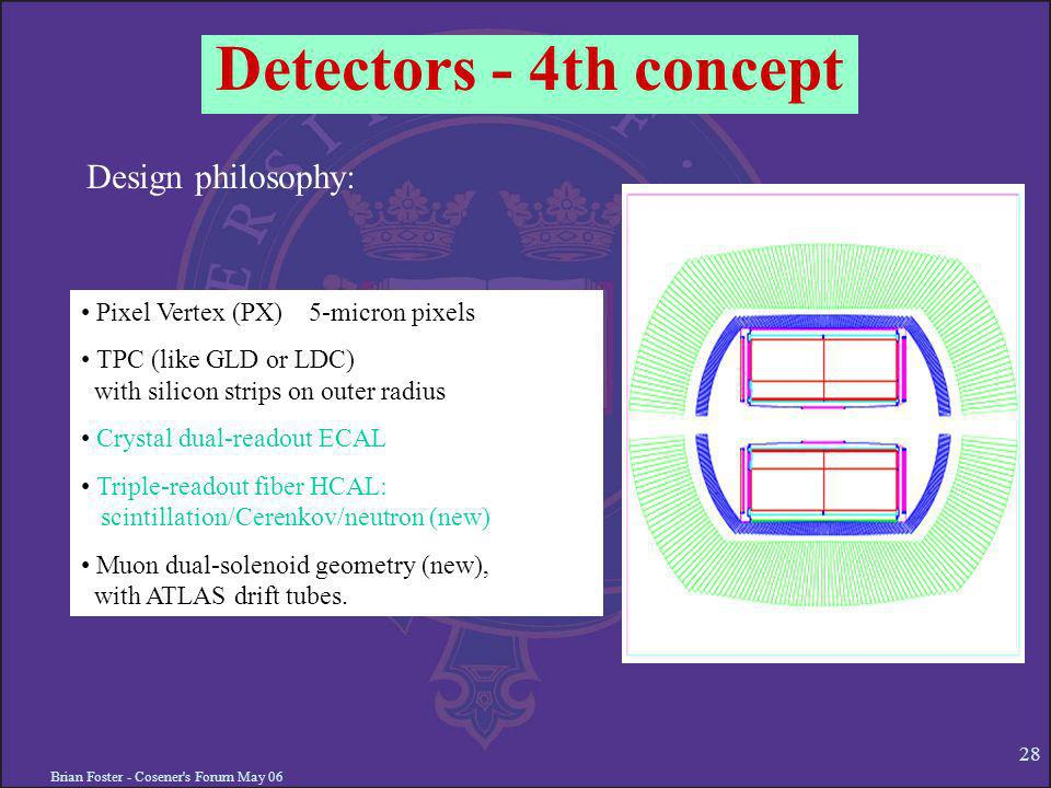 Brian Foster - Cosener s Forum May 06 28 Detectors - 4th concept Pixel Vertex (PX) 5-micron pixels TPC (like GLD or LDC) with silicon strips on outer radius Crystal dual-readout ECAL Triple-readout fiber HCAL: scintillation/Cerenkov/neutron (new) Muon dual-solenoid geometry (new), with ATLAS drift tubes.