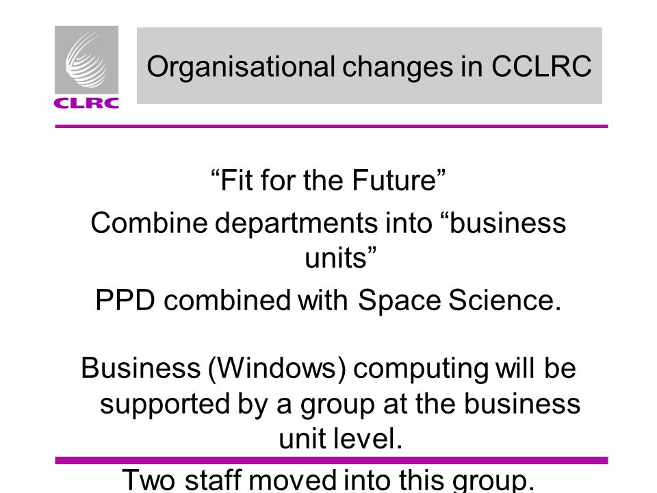 Organisational changes in CCLRC Fit for the Future Combine departments into business units PPD combined with Space Science.