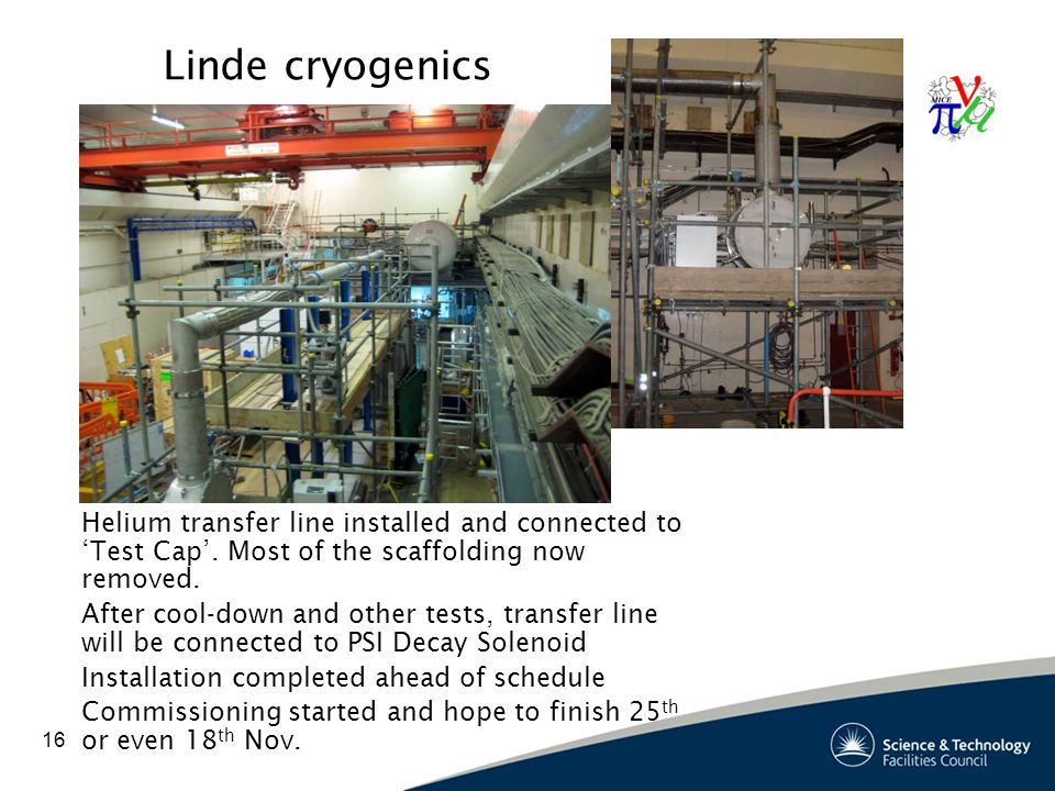 16 Linde cryogenics Helium transfer line installed and connected to Test Cap.