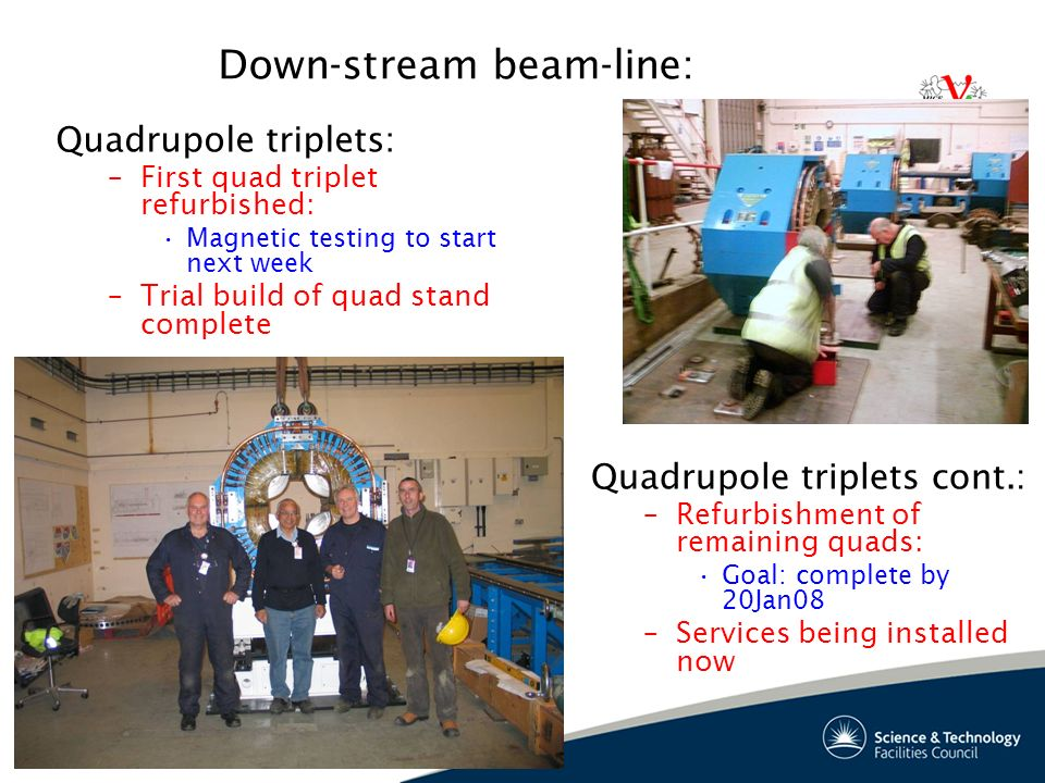 20 Down-stream beam-line: Quadrupole triplets: –First quad triplet refurbished: Magnetic testing to start next week –Trial build of quad stand complete Quadrupole triplets cont.: –Refurbishment of remaining quads: Goal: complete by 20Jan08 –Services being installed now