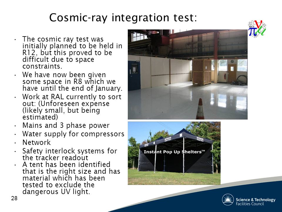 28 Cosmic-ray integration test: The cosmic ray test was initially planned to be held in R12, but this proved to be difficult due to space constraints.