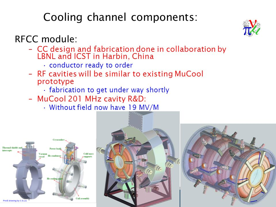 31 Cooling channel components: RFCC module: –CC design and fabrication done in collaboration by LBNL and ICST in Harbin, China conductor ready to order –RF cavities will be similar to existing MuCool prototype fabrication to get under way shortly –MuCool 201 MHz cavity R&D: Without field now have 19 MV/M