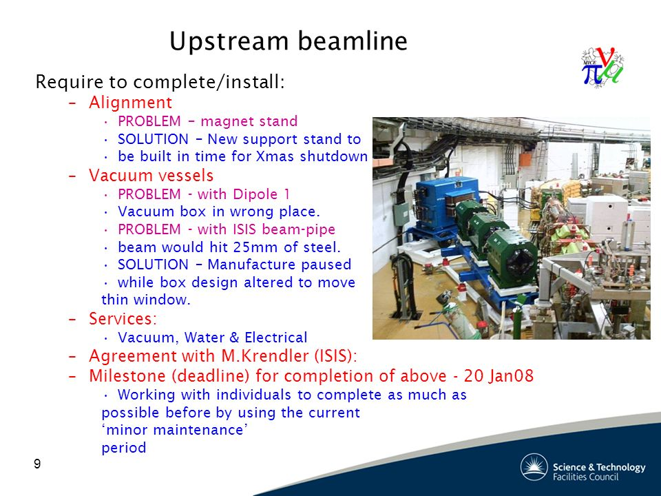 10 Upstream beam line: power supplies: Rack being installed now: –Required removal of treads of north-east stair case Power-supply units and cabling to follow