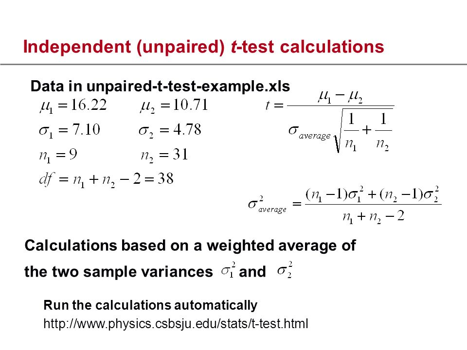 Independent (unpaired) t-test calculations Data in unpaired-t-test-example.xls Run the calculations automatically   Calculations based on a weighted average of the two sample variances and