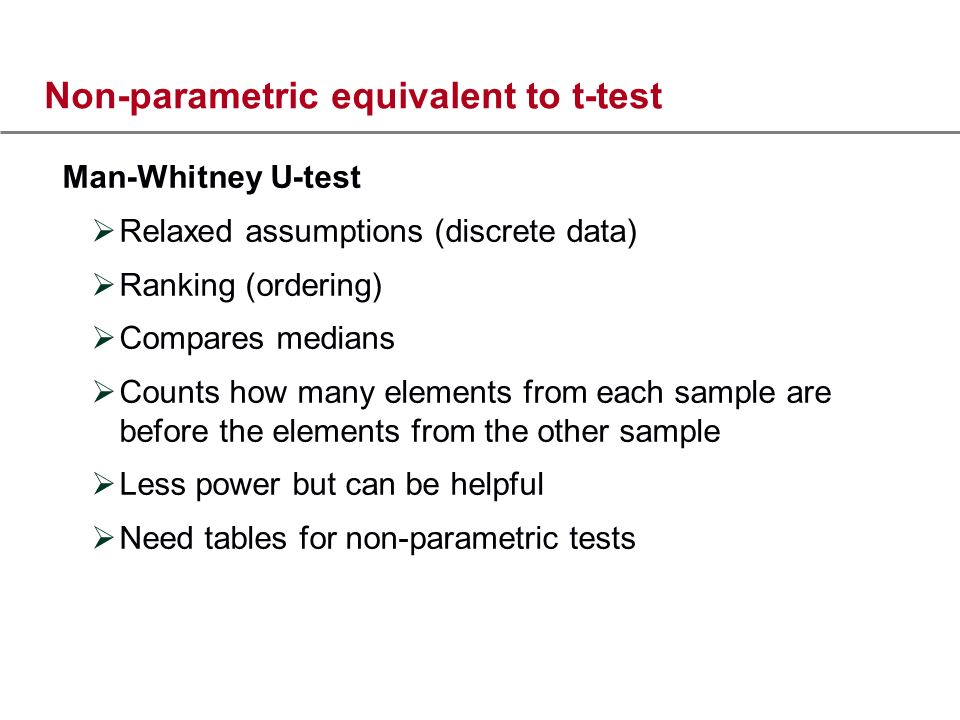 Non-parametric equivalent to t-test Man-Whitney U-test Relaxed assumptions (discrete data) Ranking (ordering) Compares medians Counts how many elements from each sample are before the elements from the other sample Less power but can be helpful Need tables for non-parametric tests