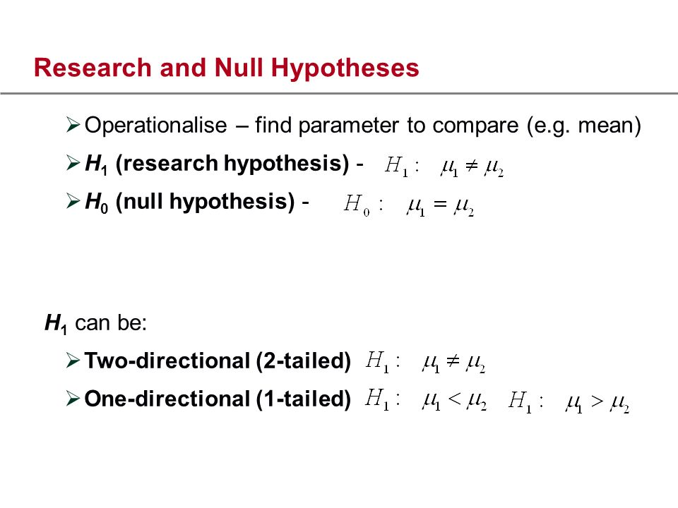 Research and Null Hypotheses Operationalise – find parameter to compare (e.g.