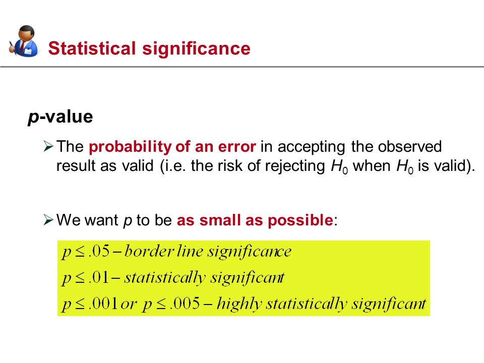 Statistical significance p-value The probability of an error in accepting the observed result as valid (i.e.