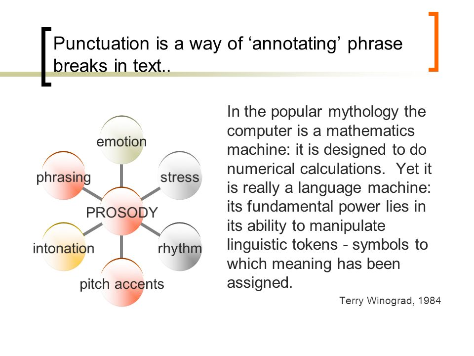 Punctuation is a way of annotating phrase breaks in text..