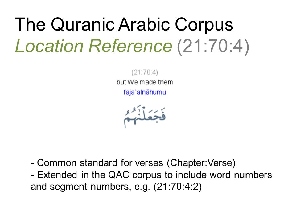 The Quranic Arabic Corpus Location Reference (21:70:4) - Common standard for verses (Chapter:Verse) - Extended in the QAC corpus to include word numbers and segment numbers, e.g.