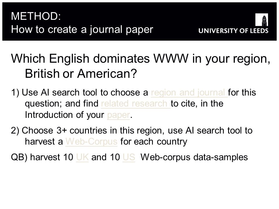 METHOD: How to create a journal paper Which English dominates WWW in your region, British or American.