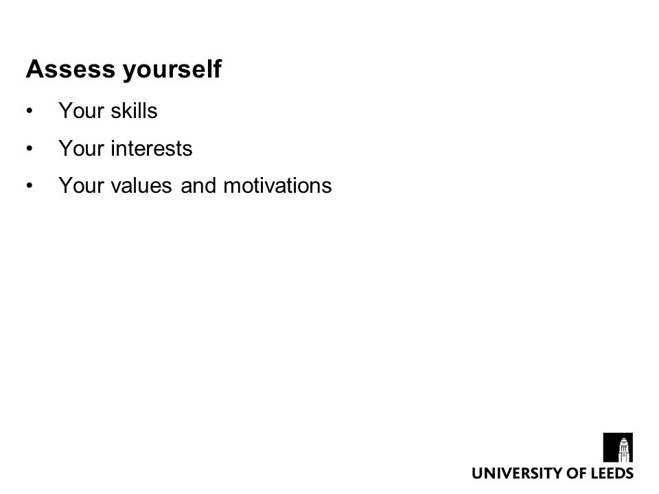 Assess yourself Your skills Your interests Your values and motivations
