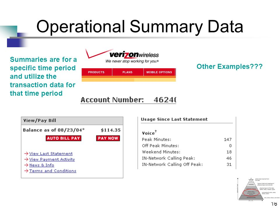 16 Operational Summary Data Summaries are for a specific time period and utilize the transaction data for that time period Other Examples