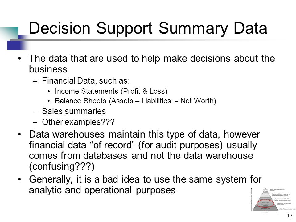17 Decision Support Summary Data The data that are used to help make decisions about the business –Financial Data, such as: Income Statements (Profit & Loss) Balance Sheets (Assets – Liabilities = Net Worth) –Sales summaries –Other examples .