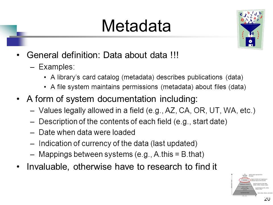 20 Metadata General definition: Data about data !!.