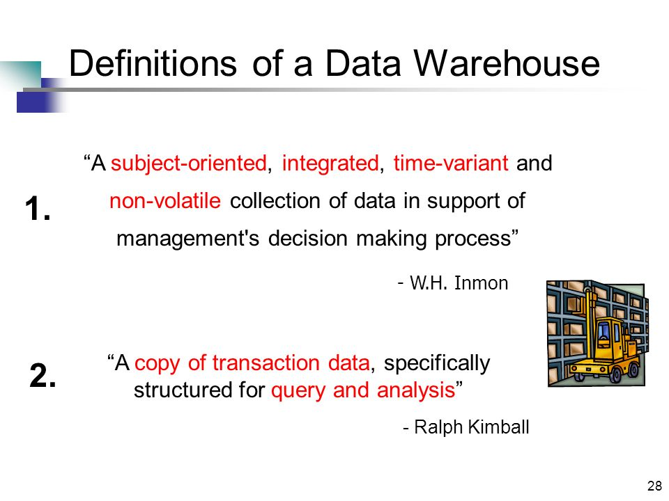 28 Definitions of a Data Warehouse - W.H.