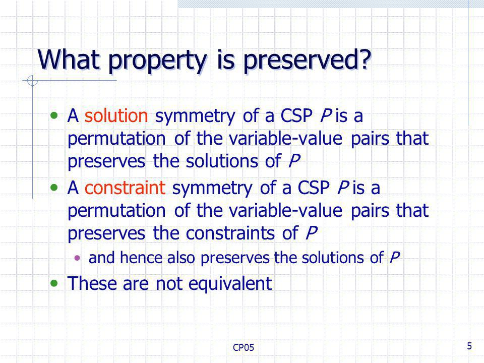 CP05 5 What property is preserved.